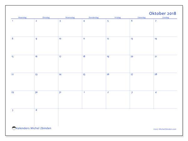 Kalender oktober 2018 (73MZ). Kalender om gratis te printen.