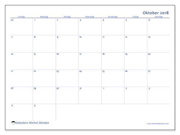 Kalender oktober 2018 (73ZZ). Gratis kalender om af te drukken.