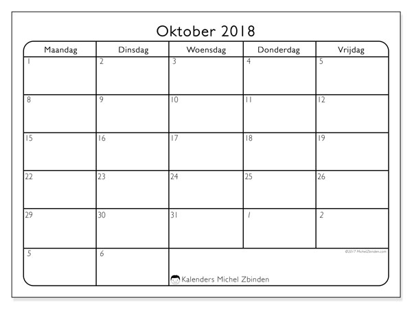 Kalender oktober 2018 (74MZ). Maandkalender om gratis te printen.