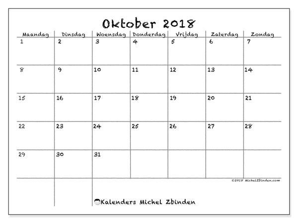 Kalender oktober 2018 (77MZ). Kalender voor de maand die gratis moet worden afgedrukt.