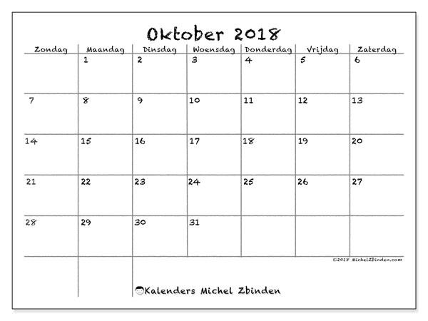 Kalender oktober 2018 (77ZZ). Kalender om gratis te printen.