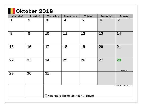 Kalender oktober 2018 met de feestdagen van België. Gratis afdrukbare kalender.