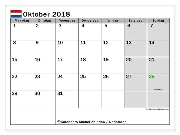 Kalender oktober 2018 met de feestdagen van Nederland. Gratis kalender om af te drukken.