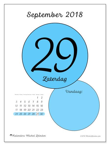 Kalender september 2018 (45-29MZ). Kalender voor de dag om gratis te printen.