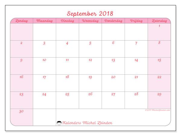 Kalender september 2018 63zz for Agenda lantaren venster