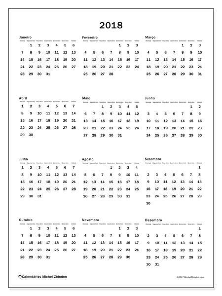 Calendário de  de 2018 (33DS). Calendário gratuito para imprimir.
