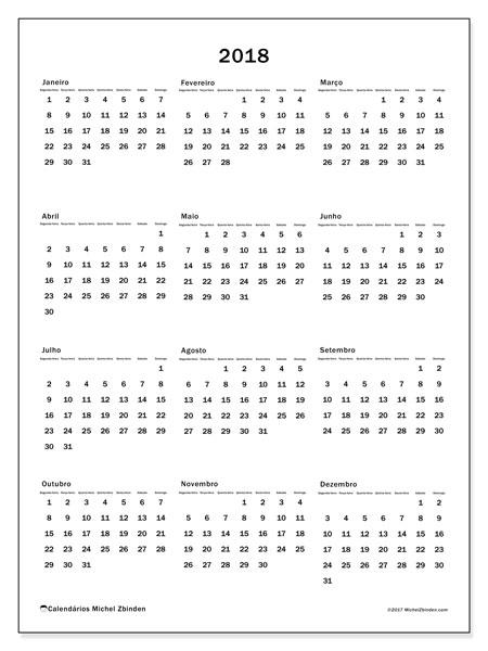 Calendário de  de 2018 (33SD). Calendário para o ano para imprimir livre.