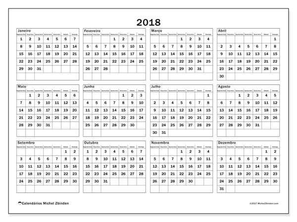 Calendário de  de 2018 (34SD). Calendário para imprimir livre.