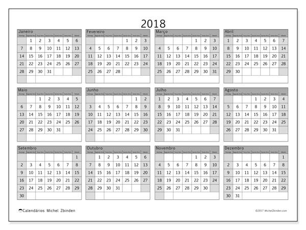 Calendário de  de 2018 (35DS). Calendário para o ano para imprimir livre.