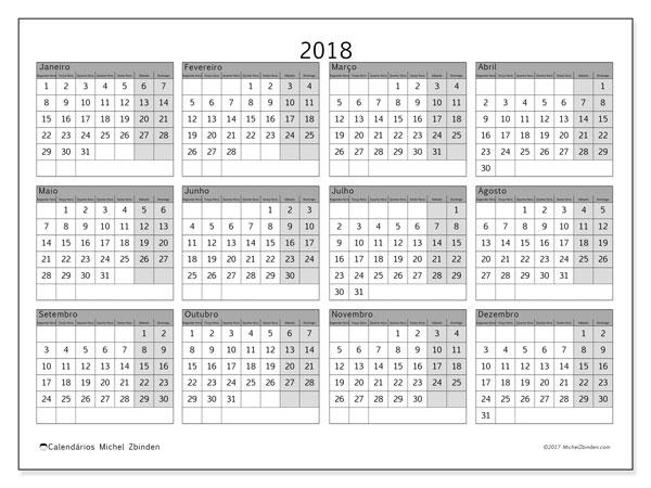 Calendário de  de 2018 (35SD). Calendário para imprimir gratuitamente.