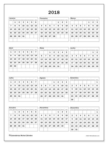 Calendário de  de 2018 (36DS). Calendário para o ano para imprimir livre.