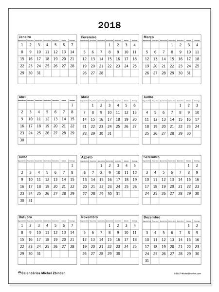 Calendário de  de 2018 (36SD). Calendário para imprimir livre.