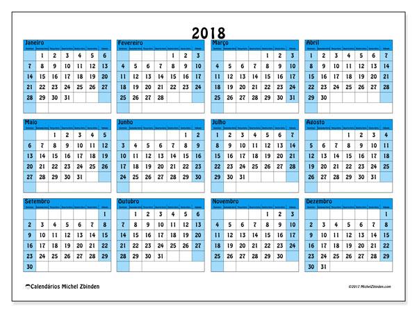 Calendário de  de 2018 (39DS). Calendário para imprimir gratuitamente.