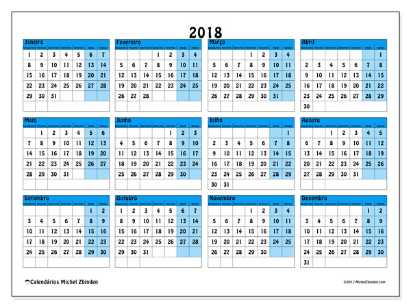 Calendário de  de 2018 (39SD). Calendário para imprimir gratuitamente.