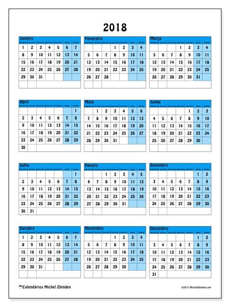 Calendário de  de 2018 (40SD). Calendário anual para imprimir gratuitamente.
