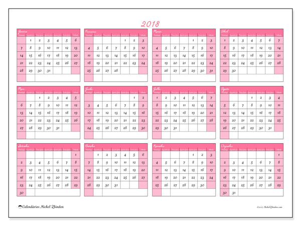 Calendário de  de 2018 (41DS). Calendário para imprimir livre.