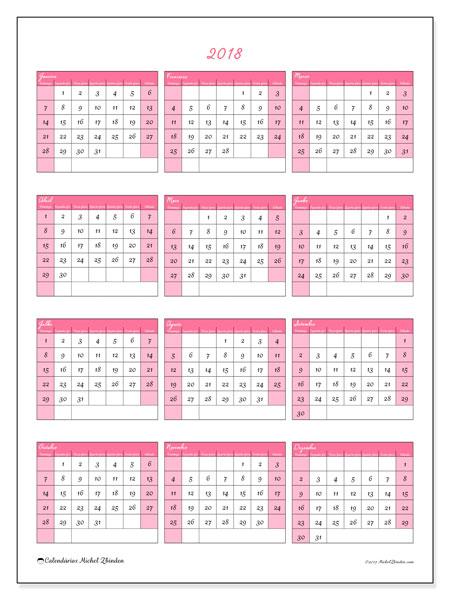 Calendário de  de 2018 (42DS). Calendário para o ano para imprimir livre.
