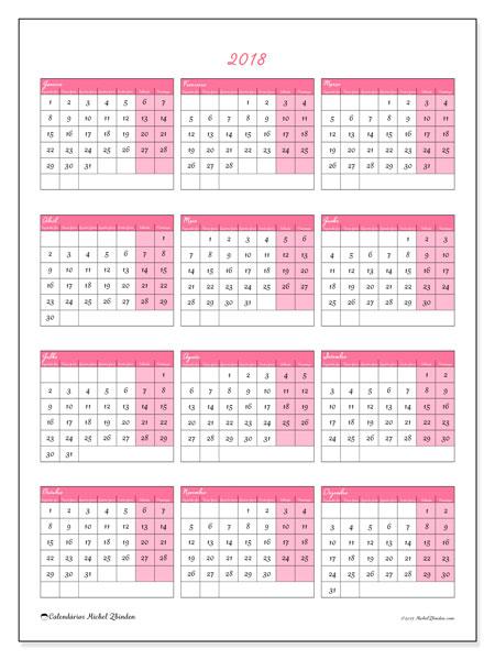 Calendário de  de 2018 (42SD). Calendário para imprimir livre.