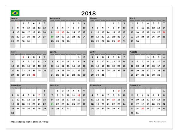 Calendário em  de 2018, com feriados públicos do Brasil. Agenda para imprimir livre.