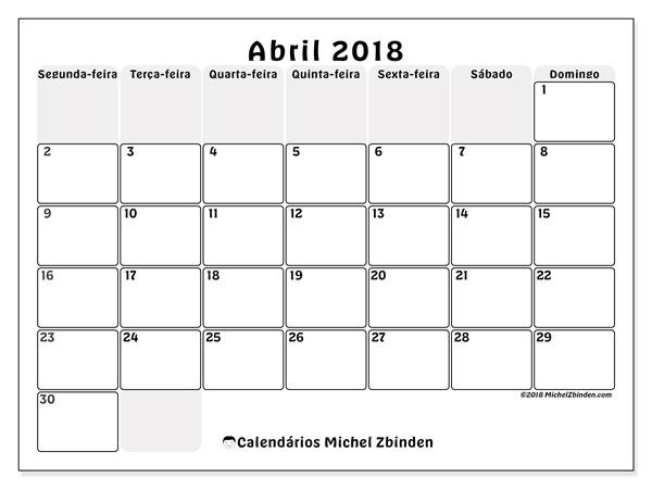 Calendário de abril  de 2018 (44SD). Calendário para o mês para imprimir livre.
