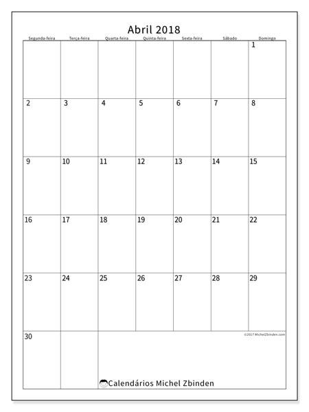 Calendário de abril  de 2018 (52SD). Horário para imprimir livre.