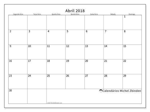 Calendário de abril  de 2018 (53SD). Calendário para imprimir gratuitamente.