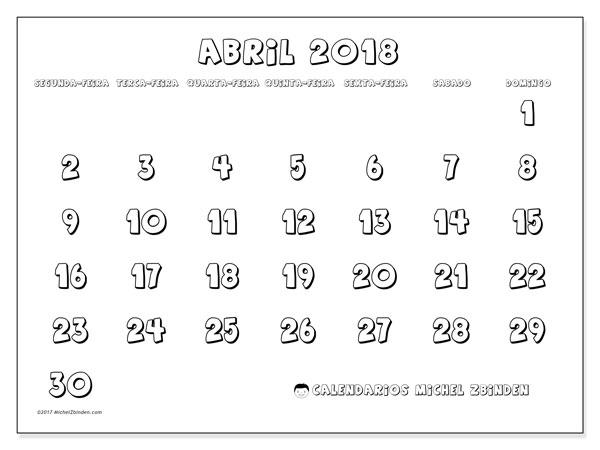 Calendário de abril  de 2018 (56SD). Calendário para imprimir livre.