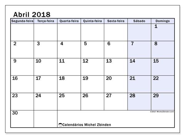 Calendário de abril  de 2018 (57SD). Calendário para imprimir gratuitamente.