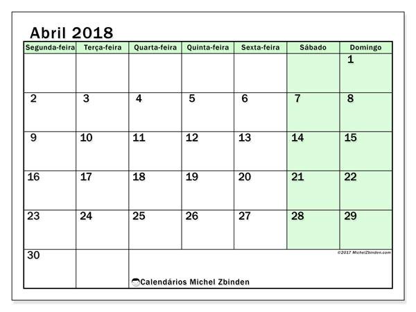 Calendário de abril  de 2018 (60SD). Calendário para o mês para imprimir livre.
