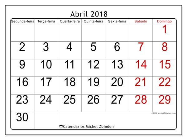 Calendário de abril  de 2018 (62SD). Calendário para o mês para imprimir livre.