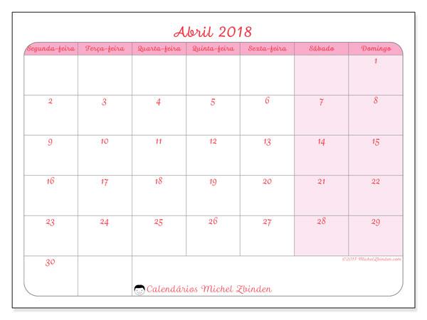 Calendário de abril  de 2018 (63SD). Calendário para imprimir livre.