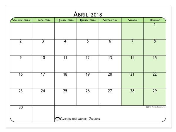 Calendário de abril  de 2018 (65SD). Calendário para o mês para imprimir livre.