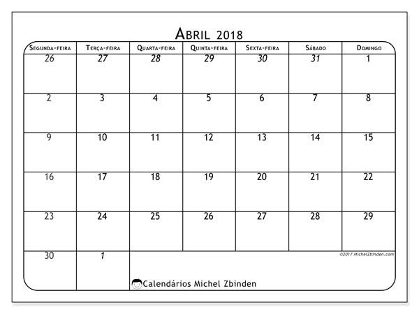 Calendário de abril  de 2018 (67SD). Calendário para imprimir livre.
