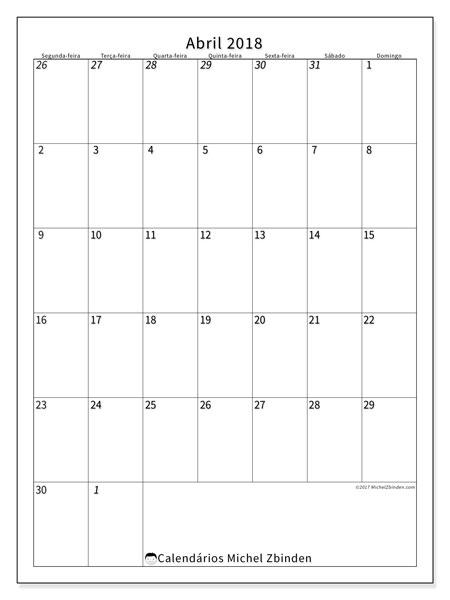 Calendário de abril  de 2018 (68SD). Horário para imprimir livre.