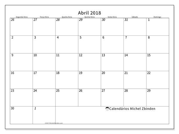 Calendário de abril  de 2018 (70SD). Calendário gratuito para imprimir.