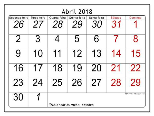 Calendário de abril  de 2018 (72SD). Calendário para imprimir gratuitamente.