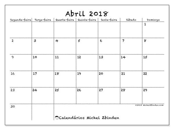 Calendário  abril de 2018, 77SD