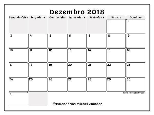 Calendário de dezembro  de 2018 (44SD). Calendário para imprimir gratuitamente.