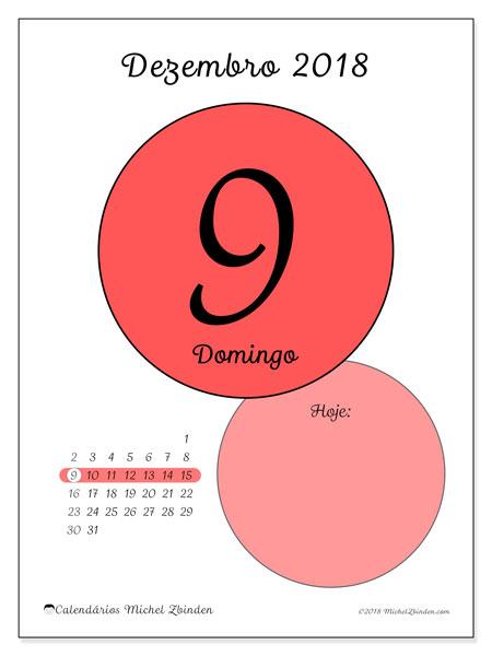 Calendário de dezembro  de 2018 (45-9DS). Calendário diário para imprimir gratuitamente.