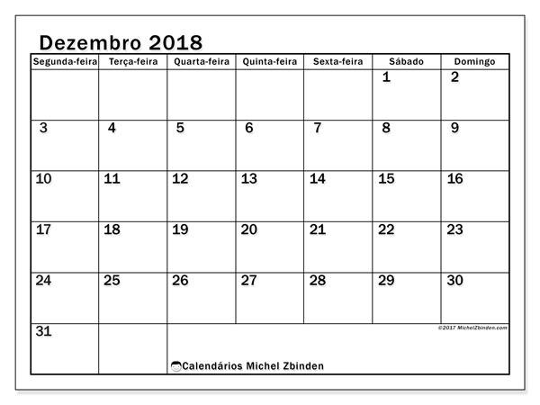 Calendário de dezembro  de 2018 (50SD). Horário para imprimir livre.