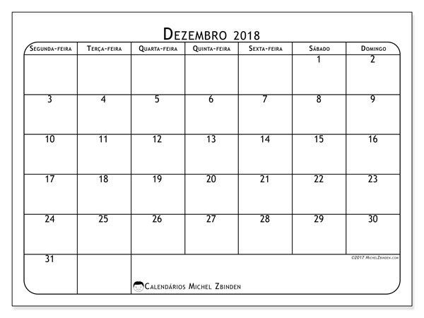 Calendário de dezembro  de 2018 (51SD). .
