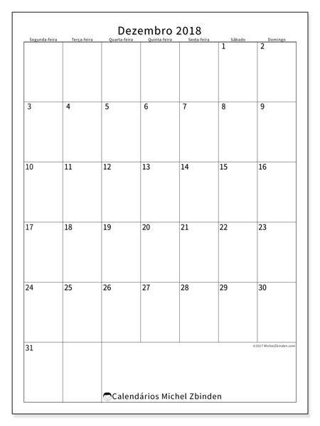 Calendário de dezembro  de 2018 (52SD). Calendário mensal para imprimir gratuitamente.