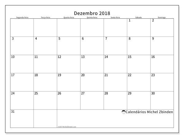 Calendário  dezembro de 2018, 53SD