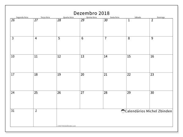 Calendário  dezembro de 2018, 70SD