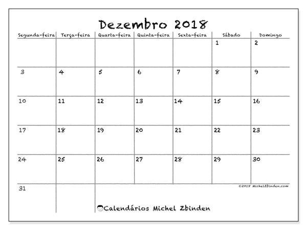 Calendário  dezembro de 2018, 77SD