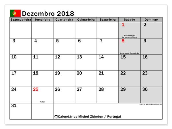 Calendário em dezembro  de 2018, com feriados públicos em Portugal. Agenda para imprimir livre.