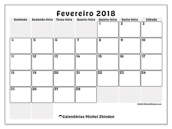Calendário de fevereiro  de 2018 (44DS). Agenda para imprimir livre.