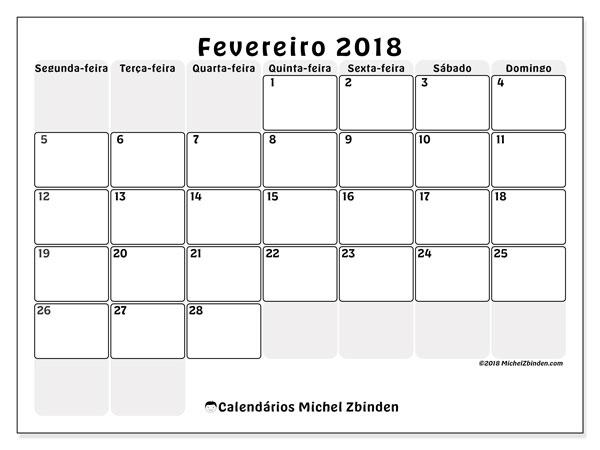 Calendário de fevereiro  de 2018 (44SD). Agenda para imprimir livre.