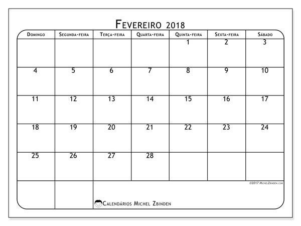Calendário de fevereiro  de 2018 (51DS). .