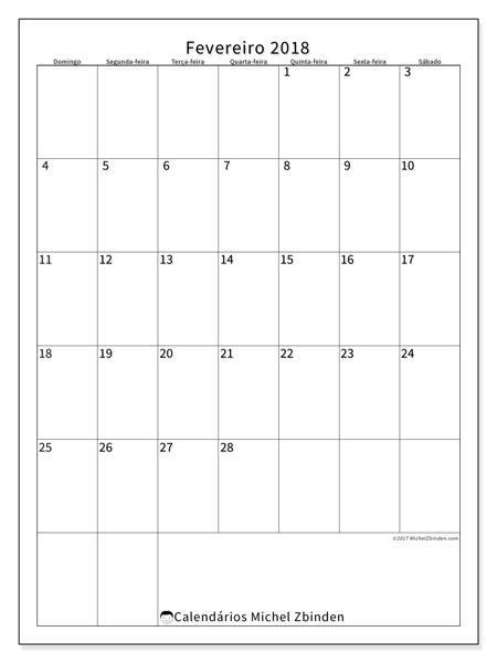 Calendário de fevereiro  de 2018 (52DS). Calendário mensal para imprimir gratuitamente.